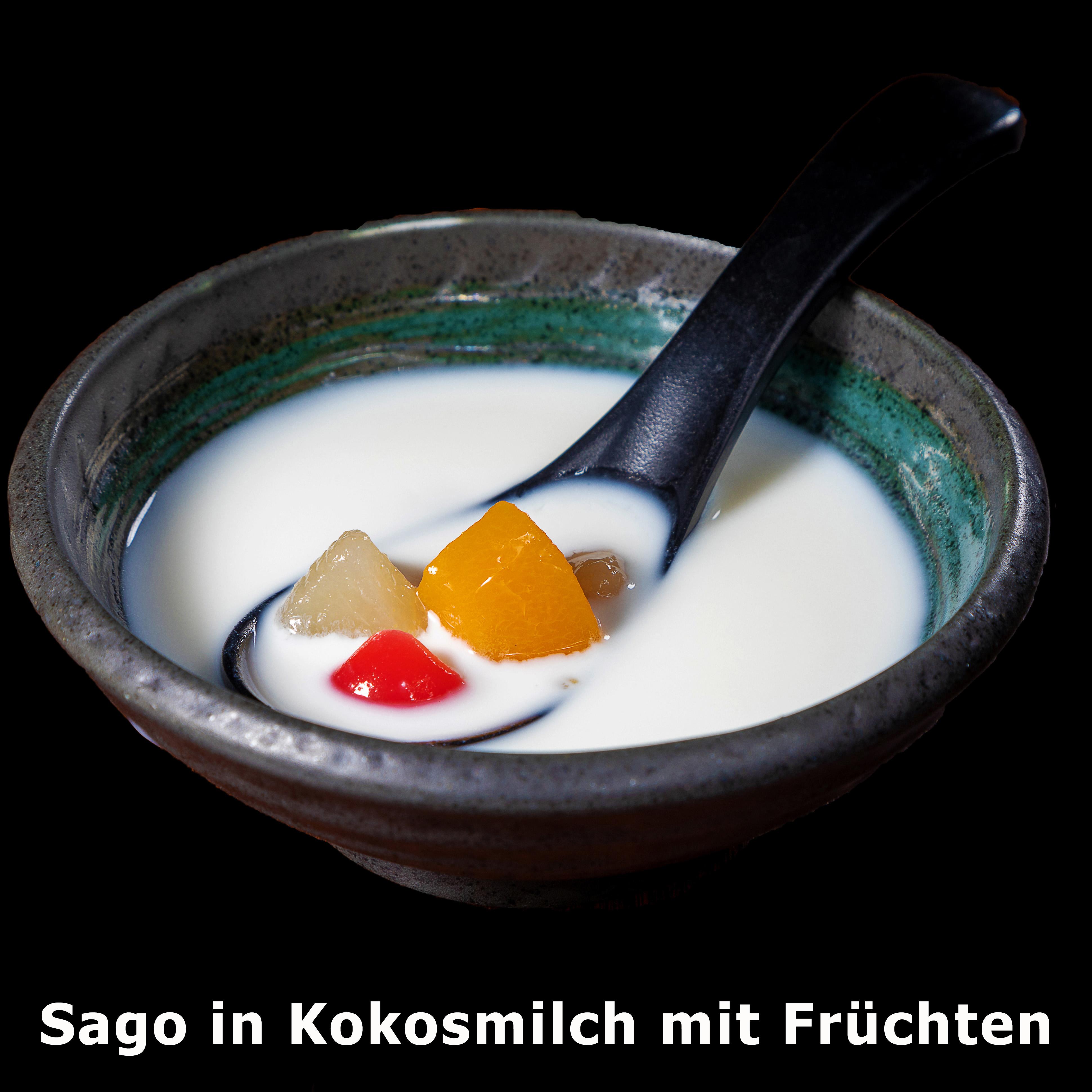 158. Sago in Kokosmilch mit Früchten